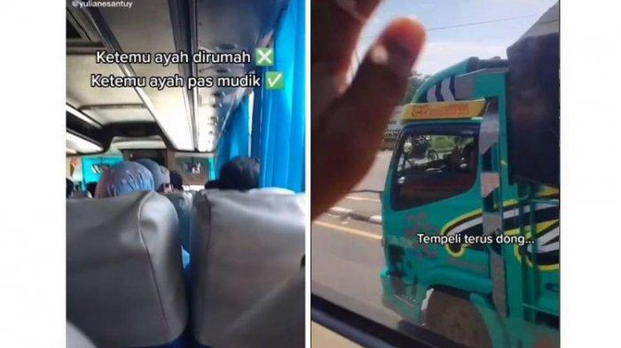 Naik Kenderaan Berbeda, Anak & Ayah Berpapasan di Jalan Saat Mudik, Truk 'Kawal' Bus Sampai Tujuan
