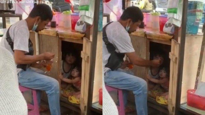 Viral Penjual Es Suapi Dua Anaknya di Dalam Gerobak Dagangan, Begini Cerita di Baliknya