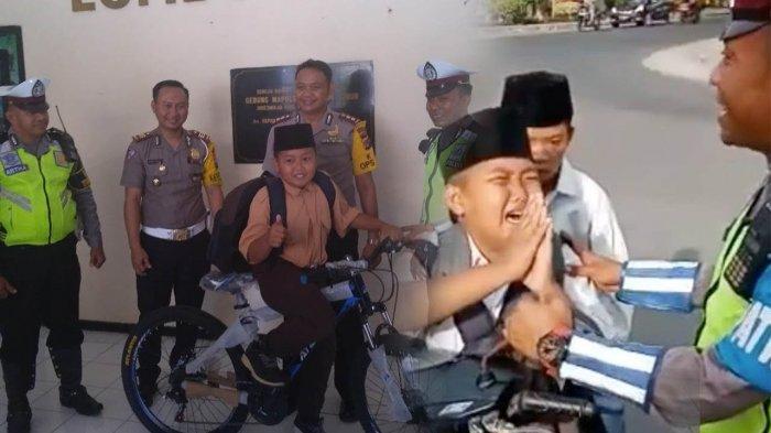 Usai Viral Video Bocah SMP Menangis saat Ditilang, Kini Dapat Hadiah Sepeda dari Kasat Lantas