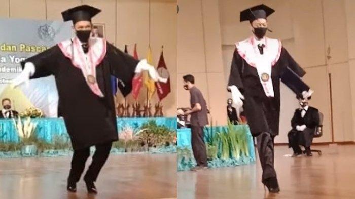 VIRAL Mahasiswa Bergaya Bak Model saat Wisuda, Aksi Kocak Berjalan Pakai Sepatu Hak Tinggi