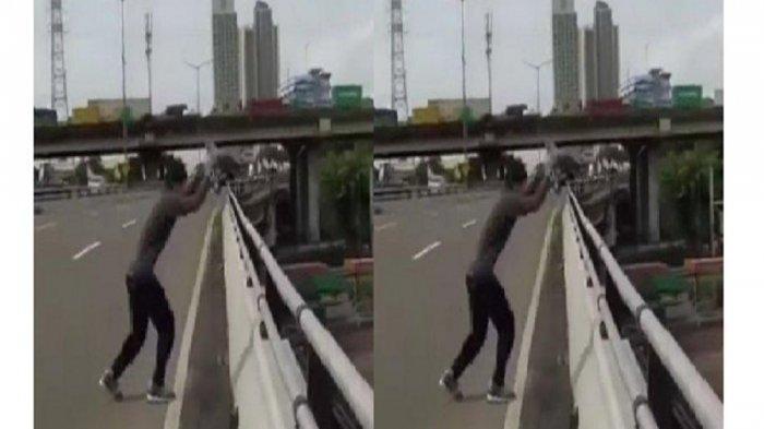 Viral Aksi Pria Melompat dari Jalan Layang ke Atap Sebuah Gedung, Pelaku Diamankan Polisi