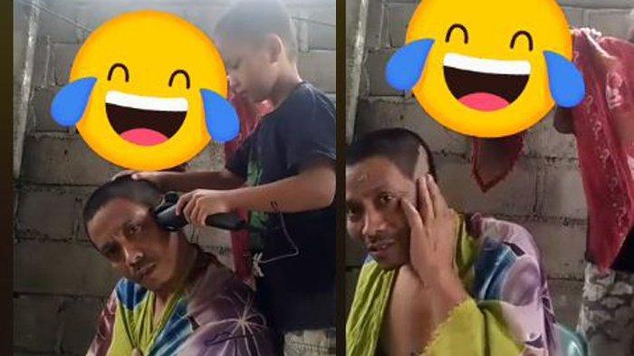 Viral Video Anak Cukur Rambut Bapaknya sampai Botak, Si Bapak Nggak Bisa Marah dan Ditertawain Istri
