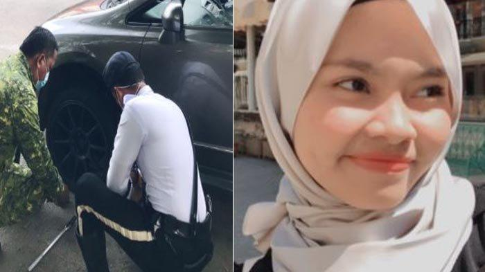 Gadis Ini Gugup Saat Mobilnya Dihentikan Polisi, Ternyata Ban Bocor Hingga Petugas Menggantinya