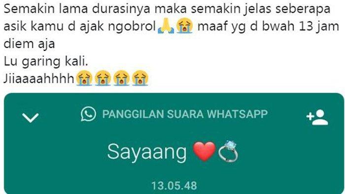 Heboh Telepon 'Sayaang' via Whatsapp Sampai 13 Jam, Postingan Akun Twitter Ini Banjir Komentar