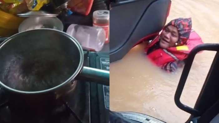 VIRAL Pemadam Tolong Pengemudi Truk Terjebak Banjir, Pas Ditemui Sedang Masak Mie Instan