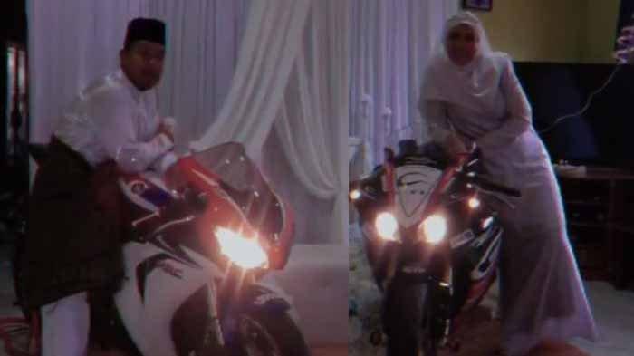 VIRAL Pengantin Baru dan Sebagai Rider Bawa Motor ke Pelaminan, Sebut Pesta Pernikahan Pemotor