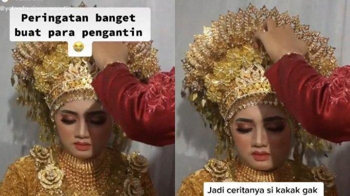 VIRAL - Pengantin Wanita Pakai Mahkota Khas Aceh 4 Kg,Hampir Pingsan di Pelaminan, Begini Ceritanya