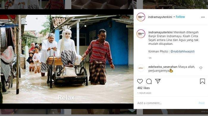 Viral Video Pasangan Pengantin Terobos Banjir Demi Nikah, Mempelai Wanita Naik Becak Didorong Pria