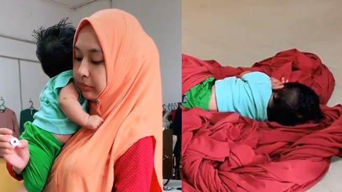 Viral Perjuangan Mama Muda Jaga Anak Sambil Menjahit Pakaian, Buah Hati Sampai Tertidur di Kain