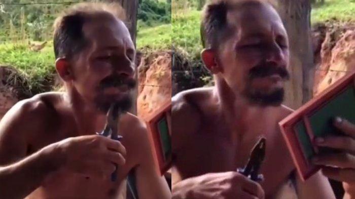 Viral Pria ini Cabut Janggut dengan Tang, Aksinya bikin Ngilu
