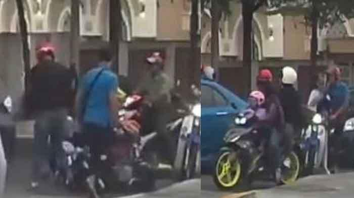 Viral Salah Paham di Jalan, Pria ini Pukul Pria lain dan Dorong Motor, Anak dan Istri Jatuh