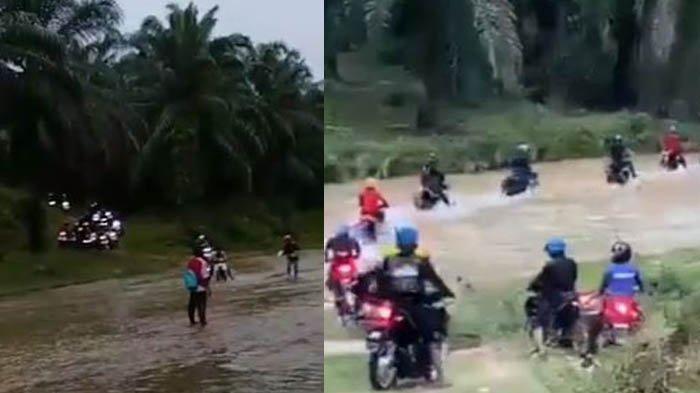 VIRAL Sekelompok Pemuda Komunitas Motor Touring ke Areal Kebun Sawit, Sampai Masuk ke Aliran Sungai
