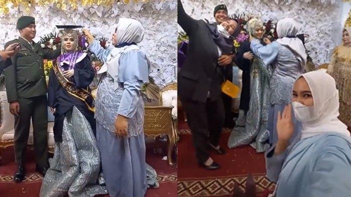 Viral Mempelai Wanita Pakai Gaun Pengantin Berbalut Baju Toga, Nikah Sambil Wisuda