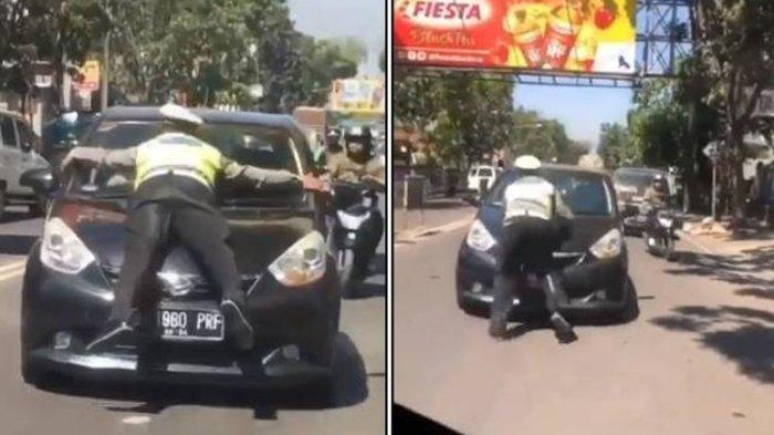 Viral Video Polisi Ditabrak dan Nyangkut di Kap Mobil, Begini Kejadiannya Hingga Pengemudi Ditilang
