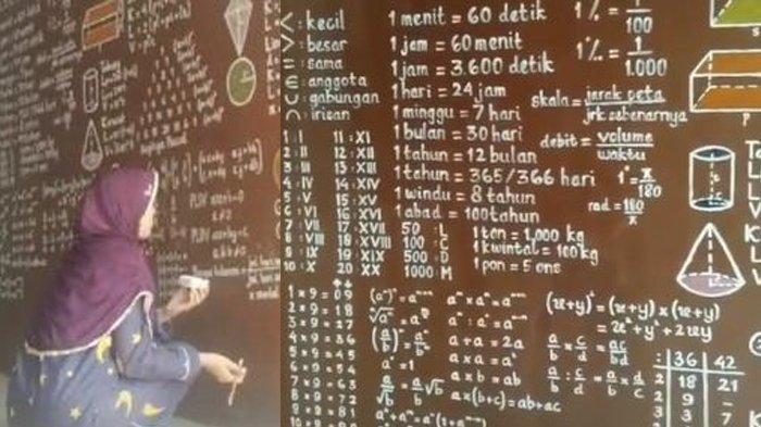 Viral Wanita ini Lukis Dinding Penuh Rumus Matematika, Begini Komentar Warganet