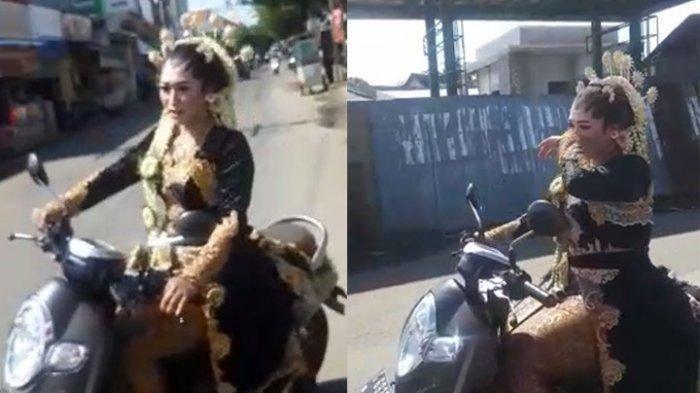 Viral Pengantin Wanita Naik Sepeda Motor Jemput Pengantin Pria Ketiduran, Begini Kejadiannya
