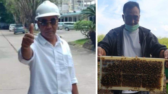 Kolase foto Zakaria Ismail (54), mantan kombatan GAM Eks Libya saat menjadi kontraktor di Palembang dan ketika menjadi peternak lebah madu di Riau.