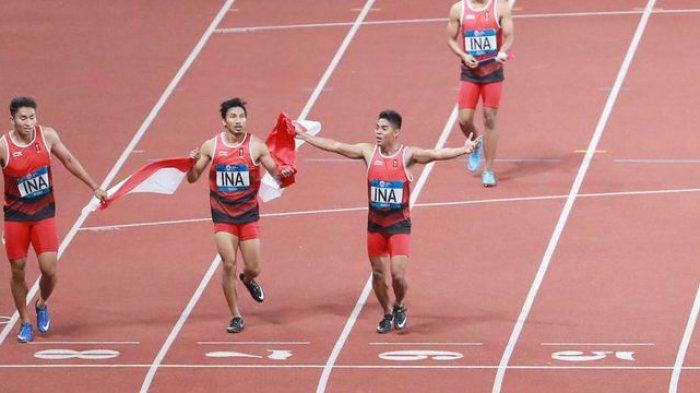 Unggul Dari China, Lalu Zohri dkk Raih Medali Perak Lari Estafet Beregu Putra Asian Games 2018