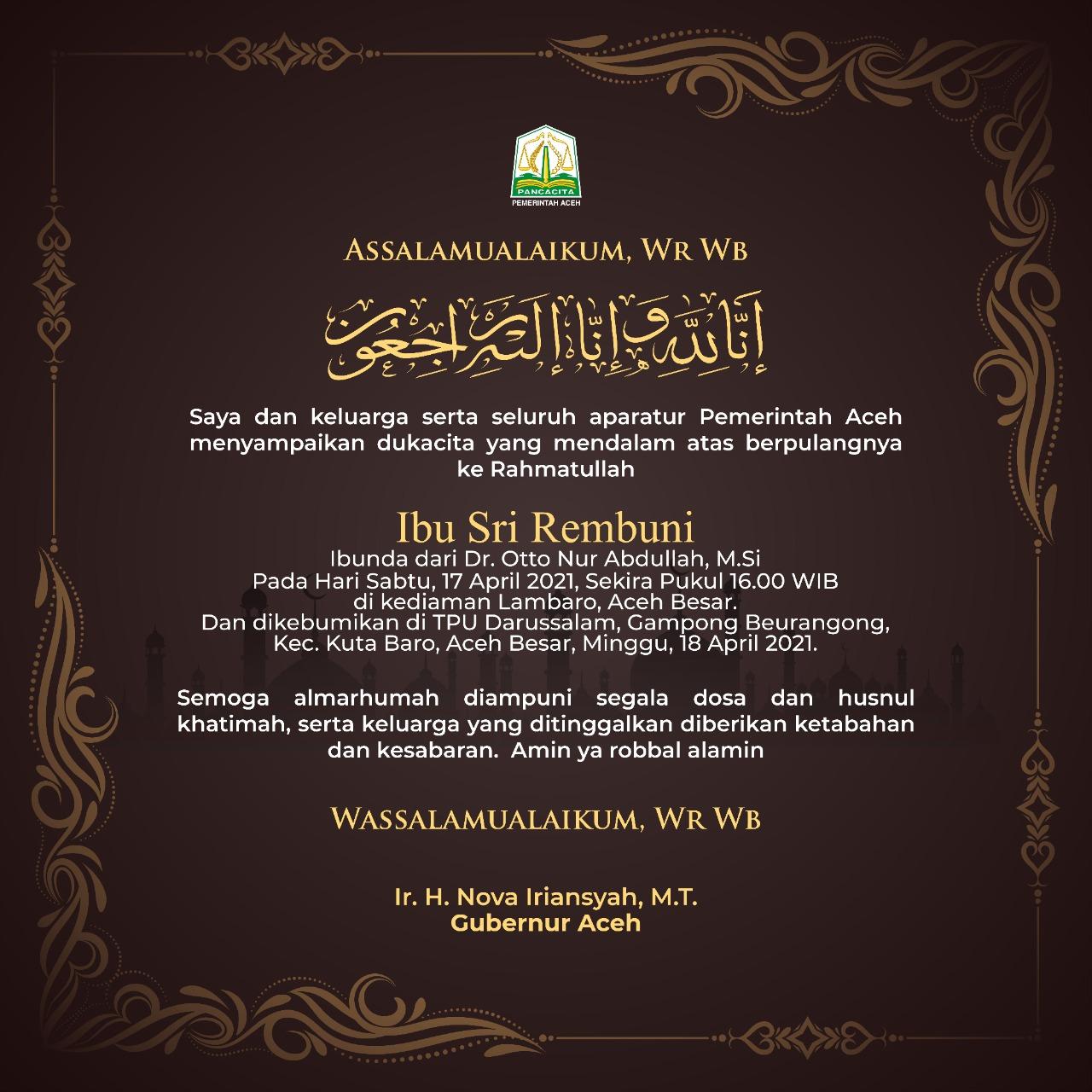 Ibu Sri Rembuni Ibunda Dr Otto Nur Abdullah M.Si