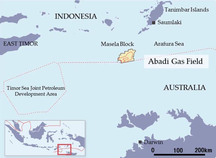 Lokasi ladang gas Masela di Timur Indonesia