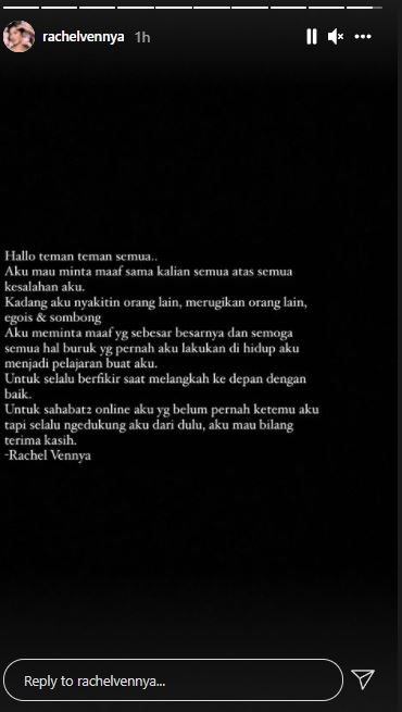 Permintaan maaf Rachel Vennya
