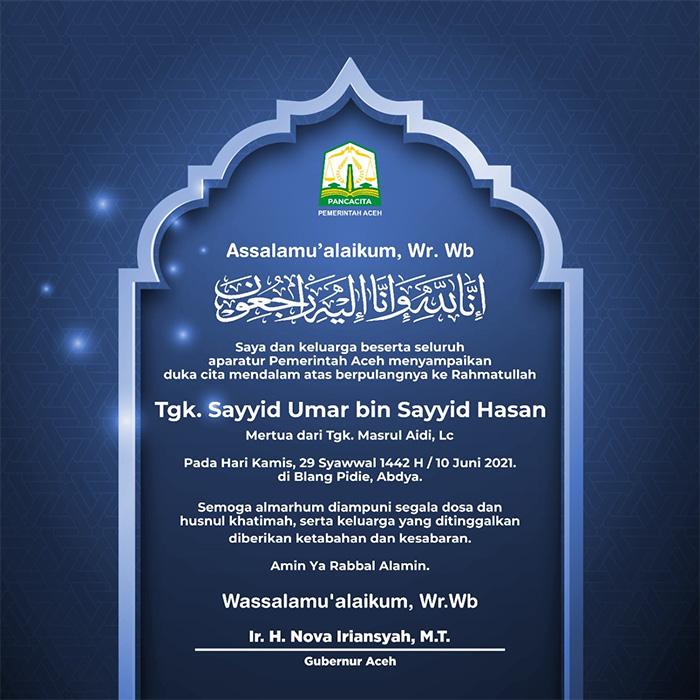 Tgk. Sayyid Umar bin Sayyid Hasan Mertua dari Tgk. Masrul Aidi, LC