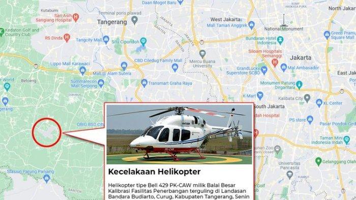 Helikopter Kemenhub Terguling Saat Jalani Latihan di Bandara Budiarto