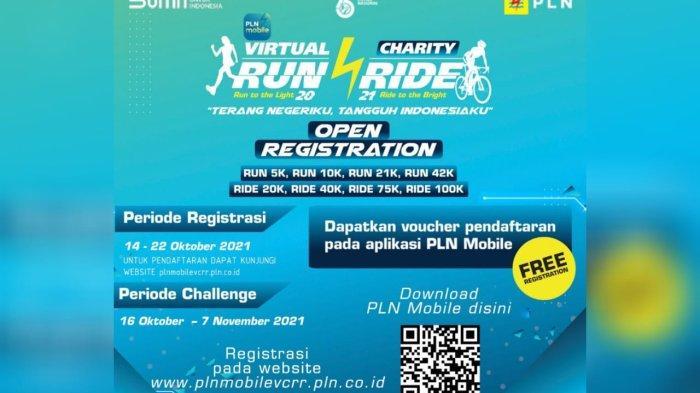PLN kembali menggelar kegiatan virtual charity run and ride pada 16 Oktober hingga 7 November 2021.