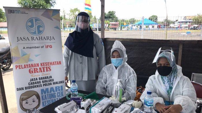 MALUKU: Pelayanan kesehatan gratis oleh PT Jasa Raharja Cabang Maluku di Pelabuhan Tulehu, Kecamatan Salahutu, Kabupaten Maluku Tengah, Kamis (16/9/2021).