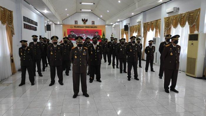 MALUKU: Upacara sekaligus syukur hari Bhakti Adhyaksa ke 61 tahun 2021 secara virtual di Kejaksaan Tinggi (Kejati) Maluku, Kamis (22/7/2021).