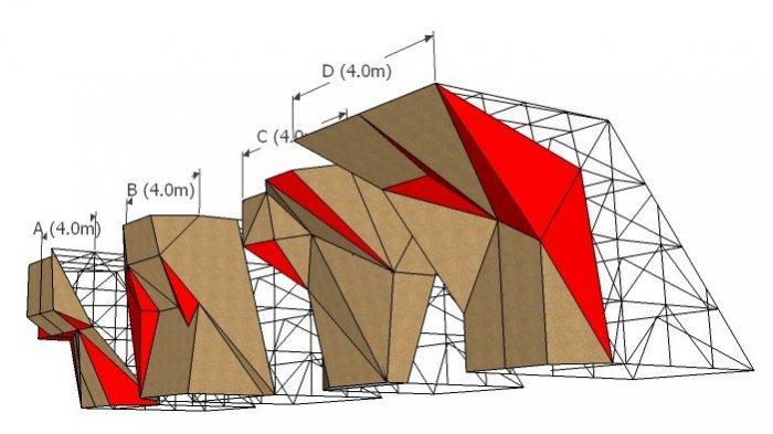 ILUSTRASI - Konstruksi dinding panjat tebing jenis Boulder Wall. Konstruksi wall climb seperti inilah yang akan dibangun di Lapangan Merdeka AMbon, Maluku, tahun 2021.