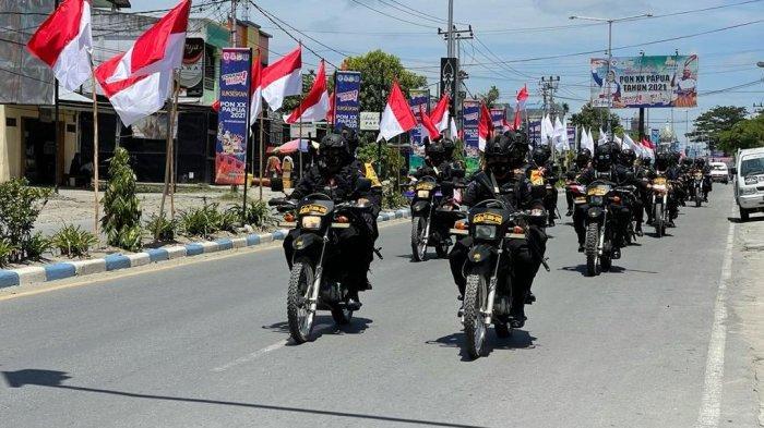 Brimob Maluku Patroli Keliling Kota Sentani Jelang Pembukaan PON XX Papua