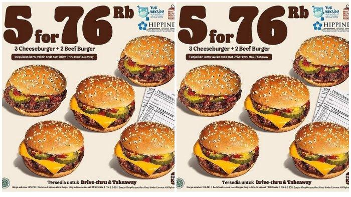 Promo Burger King Berlaku 30 September, Beli 3 Cheeseburger dan 2 Beef Burger Cukup Bayar Rp 76.000