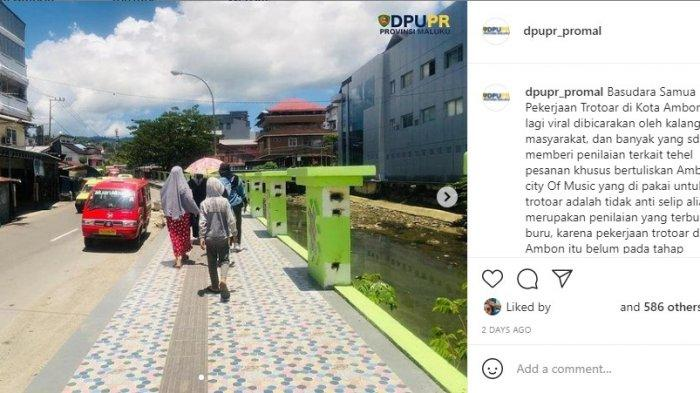 Klarifikasi Trotoar Licin di Instagram, Dinas PUPR Provinsi Maluku Tuai Kritikan Netizen