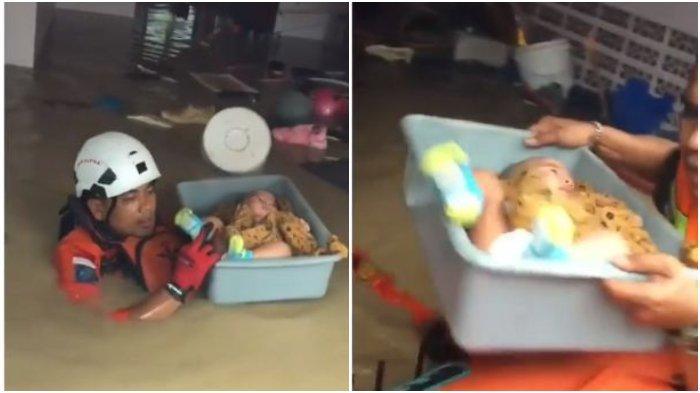 Viral Video Mengharukan Evakuasi Bayi saat Banjir Berlangsung Dramatis, Dimasukkan ke Baskom