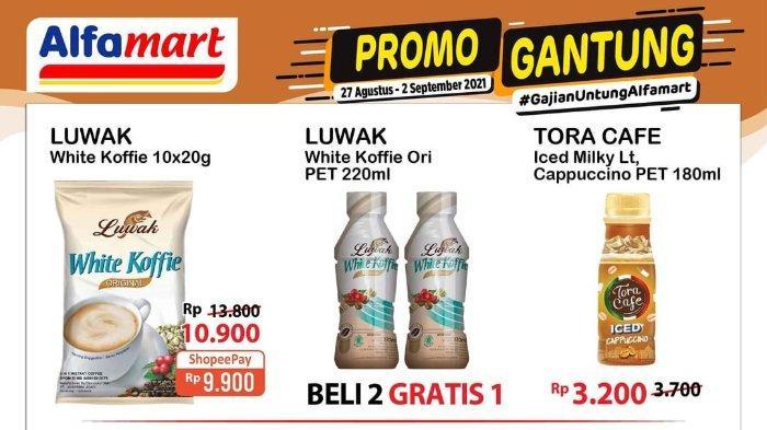 Promo Gantung Alfamart 27 Agustus - 2 September 2021: Luwak White Koffie PET 220ml Beli 2 Gratis 1