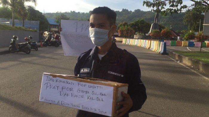 Di Bawah Patung dr J Leimena, Puluhan Mahasiswa Unpati Aksi Kemanusiaan untuk Gempa Sulbar