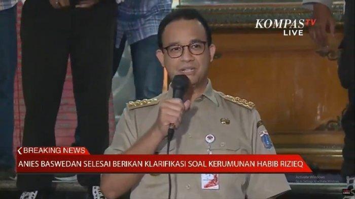 Gubernur DKI Jakarta, Anies Baswedan menyelesaikan proses pemberian klarifikasinya kepada Polda Metro Jaya Selasa (17/11/2020) malam.