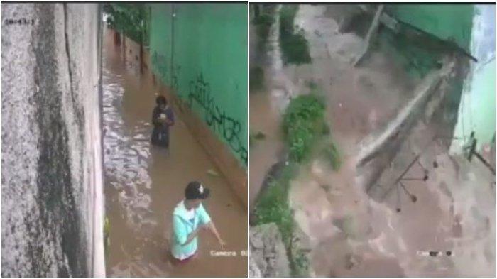 Viral Video 2 Pria Selamat dari Reruntuhan Tembok saat Banjir, Sempat Berhenti untuk Main HP