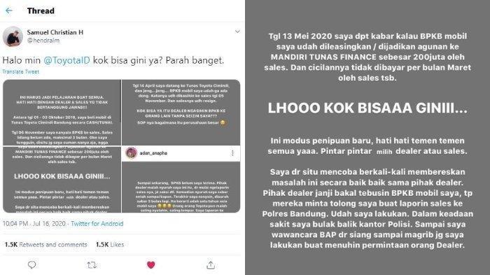Viral BPKB Mobil Digadaikan Sales untuk Utang Rp 200 Juta, Adan Beberkan Kronologinya