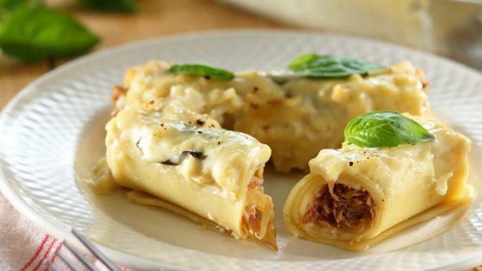 Lasagna Gulung Saus Keju Enak