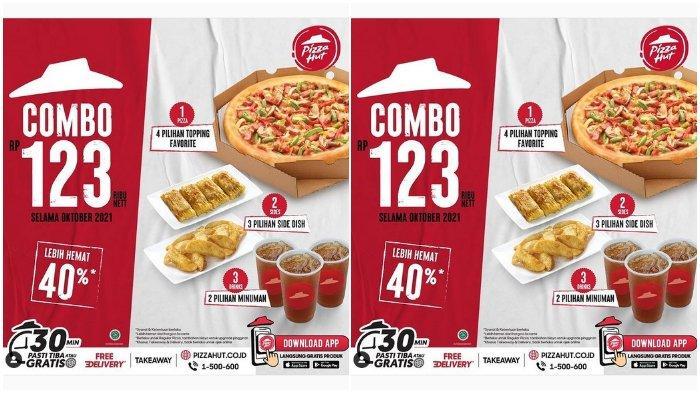 Promo Pizza Hut Combo: 1 Pan Reguler Pizza, 2 Side Dish, dan 3 Minuman Cuma Rp 123.000