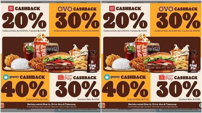 Promo Burger King: Cashback hingga 40%, Bayar dengan LinkAja, Ovo, ShopeePay, GoPay