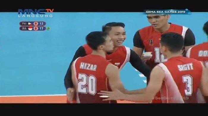 Sedang Main Live Final Bola Voli Putra Indonesia vs Filipina Sea Games, indonesia Pimpin Set 1