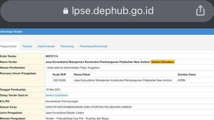 Tender Jasa Konsultasi Manajemen New Port Ambon Dibatalkan Karena Tak Ada Pagu Anggaran