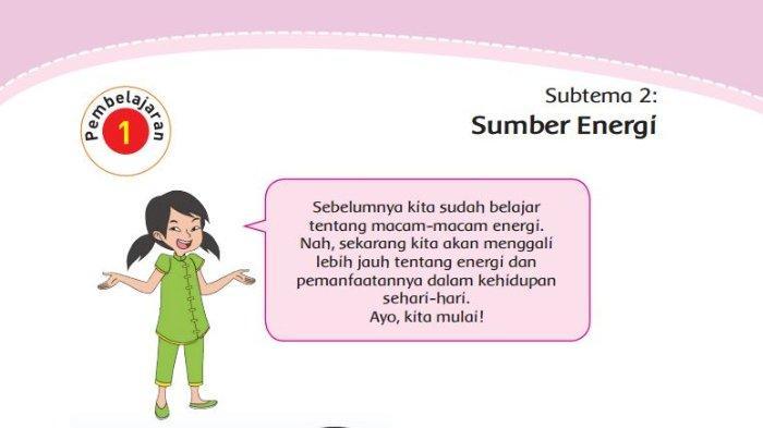 Kunci Jawaban Buku Tematik Tema 2 Kelas 4 SD Subtema 2 Pembelajaran 1: Manfaat Energi
