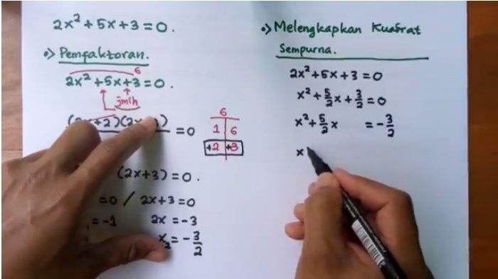 Jawaban Soal Belajar dari Rumah TVRI 30 April 2020, Matematika SMA/SMK Persamaan dan Fungsi Kuadrat