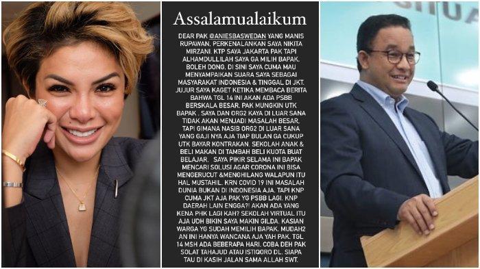 Soroti Keputusan Anies Baswedan, Nikita Mirzani: Coba Deh Pak Shalat Tahajud Dulu