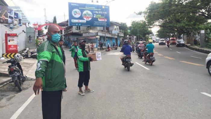 Komunitas Grab Bike Kota Ambon menggelar aksi galang dana untuk korban bencana di Nusa Tenggara Timur (NTT).