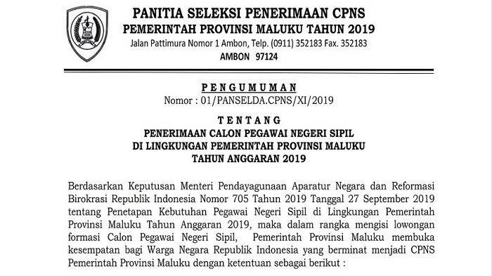 CPNS Pemprov Maluku, Pengumuman Hasil Seleksi Administrasi Besok Selasa 17 Desember, Klik di Sini